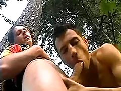 Young bikers hide in forest to oral sex