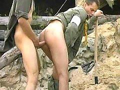 Tight anal fucking with cumshot on war