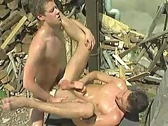 Naughty country stallions playing anal fuck and jizzing