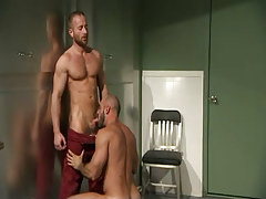 Hairy gay fellow sucks bear doctor