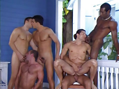 Six interracial man-lover champs suck and fuck by pool