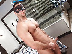 Masked model JP blows a vast load all over his hairy chest