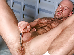 Dirk ploughs over his hairy muscular body & probes his wazoo