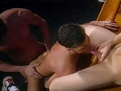Hot guy caresses his jock whereas he watches a hungry Three-way !
