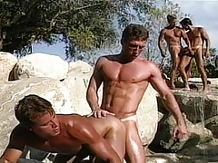 Very hot guys are next to the pool and they take in and fuck !