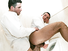 Student comrades Tim Black and Rod Stevans fuck in a bathroom