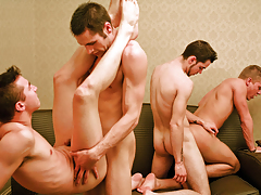Frenzy Fuck Festival In An Hotel Bedroom With 6 Perspired Studs!
