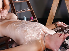 Splashed With Wax And Cock cock juice - Luca Finn And Aiden Jason