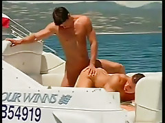 Dualistic boys smokin' and sucking on a boat in 3 video