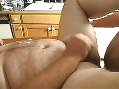 Horny mature fruit cums on table