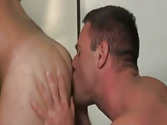 Mature gay licks hairy arsehole on desk