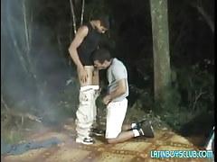 Latin man-lover twinks engulf in dark forest