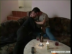 Cute gay guys play with tongue all the time other by candlelight