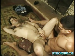 Latin young gay drills  parent on floor