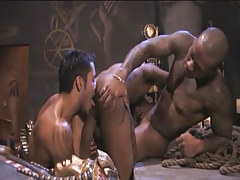Interracial gays swallow knobs and play with tongue holes in archeological dig