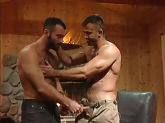 Muscle hairy faggot seduces buddy in address hunting