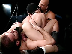 Hairy homosexual champs dildofucks poor male in kink group sex