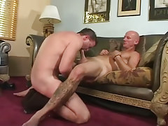Hairy gay stallion sucked by father