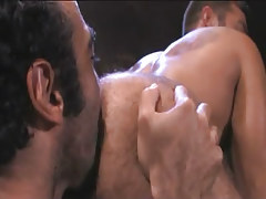 Bear Arabian gay guy licks curly men butt
