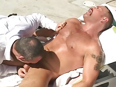 Mature boy gullets cock of bear gay by pool