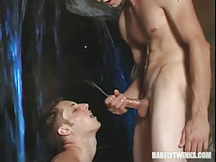 Innocent lad attains hot facial after heavy anal