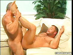 Hairy gay ducked by silver teacher