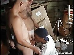 Interracial man-lovers oral sex in gangbang