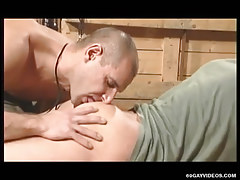 Cute gay licks appetizing ass in threesome