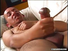 Gay with mammoth snake masturbates