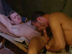 Young faggot sucked by grown stallion