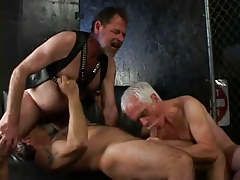 Old hirsute gays share homo boy