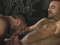 Bear gay sucks his mature lover