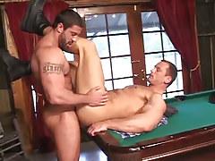 Hairy man-lover copulates nice-looking fella on billiard table