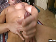 Horny twink stud sub cums in bed