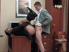 Pervy co-worker and his gay guy boss having cock-break afterwards massive working day