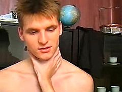 Boy pounds friend doggy style and cums on his agone